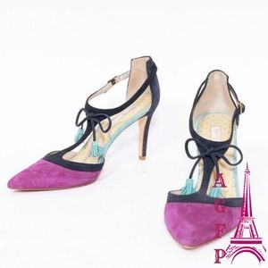 Boden Alice Purple & navy T strap shoes, size 9.5